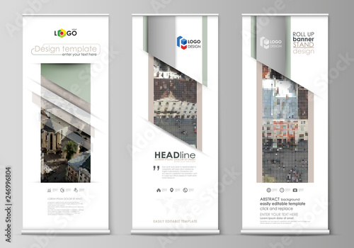 Fotografia  Set of roll up banner stands, flat design templates, abstract geometric style, vertical vector flyers, flag layouts
