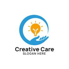 Creative Idea Care Logo Design Template. Bulb Icon Symbol Design