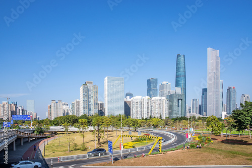 Photo Stands United States Guangzhou city skyline