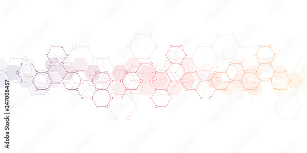 Fototapety, obrazy: Geometric background texture with molecular structures and chemical engineering. Abstract background of hexagons pattern. Vector illustration for medical or scientific and technological modern design.
