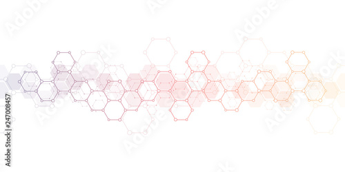 Obraz Geometric background texture with molecular structures and chemical engineering. Abstract background of hexagons pattern. Vector illustration for medical or scientific and technological modern design. - fototapety do salonu