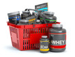 canvas print picture Sports  nutrition (supplements) for bodybuilding in shopping basket isolaed on white. Whey proteinand bcaa .