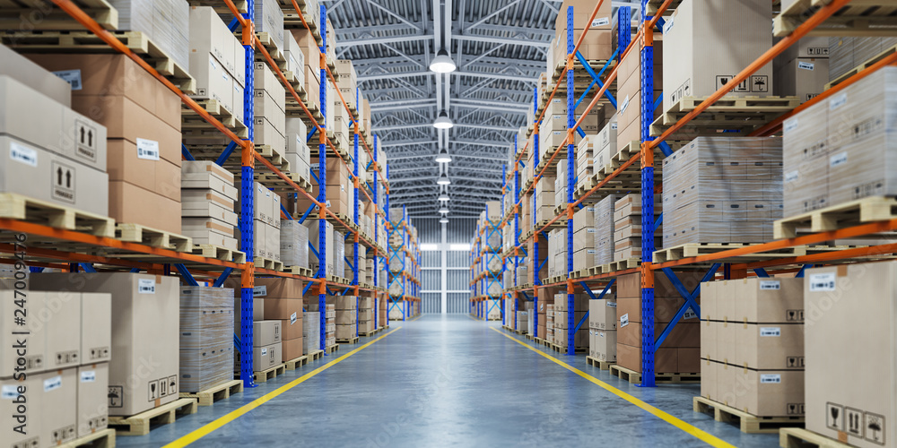 Fototapety, obrazy: Warehouse or storage and shelves with cardboard boxes. Industrial background.