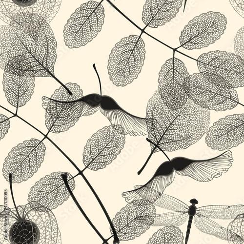 Obraz High detail skeleton leaf vector seamless pattern - fototapety do salonu