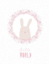Cute Little Bunny In A Pink Fl...