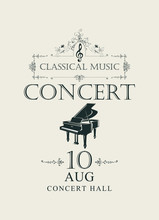 Vector Poster For Concert Or Festival Of Classical Music In Vintage Style With Grand Piano