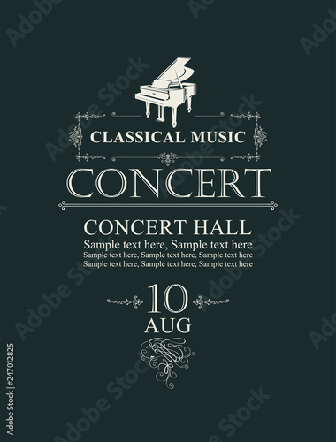 Vector poster for concert or festival of classical music in vintage style with grand piano on the black background - 247012825