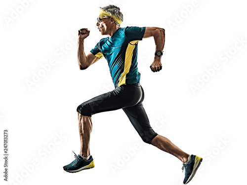 Fotografía  one caucasian senior man running runner jogger jogging  in studio shadow silhoue