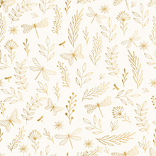 Summer Gold Pattern With Flowers, Leaves And Dragonfly.