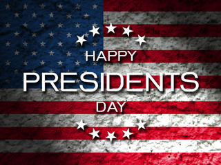 Happy Presidents day greeting card with American flag grunge background