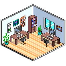 Pixel Art Isometric Office Detailed Vector Illustration