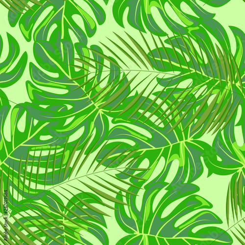 Ingelijste posters Tropische Bladeren Tropical seamless pattern with leaves. Beautiful tropical isolated leaves. Fashionable summer background with leaves for fabric, wallpaper, paper, covers.
