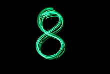 Long Exposure, Light Painting Photography.  Single Number Eight In A Vibrant Neon Green Colour Against A Black Background