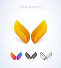 Vector Abstract Letter W Or V Logo Design Elements, Material, Origami Paper, Flat And Line Art Icon Set. Wings Illustration