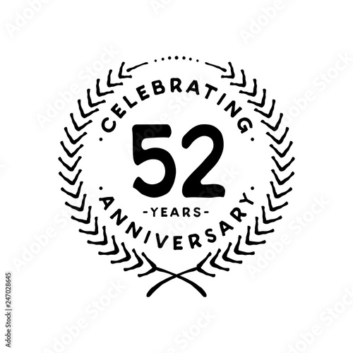 Fotografia  52 years design template. 52nd vector and illustration