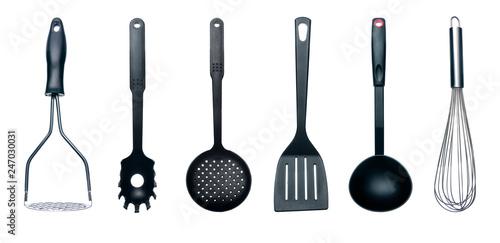 Valokuva  Kitchen utensils equipment on white background isolation