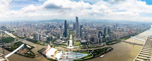 Fotografia July 2017 – Guangzhou, China – Panoramic view of Guangzhou central business dist