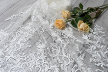 The Texture Of Lace On Wooden ...