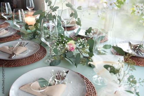 Festive event table decoration