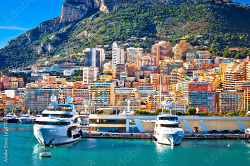 Monte Carlo yachting harbor and colorful waterfront view