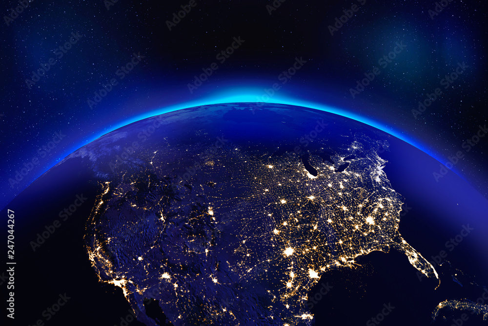 Fototapety, obrazy: Europe at night from space with glowing city lights - Elements of this image furnished by NASA