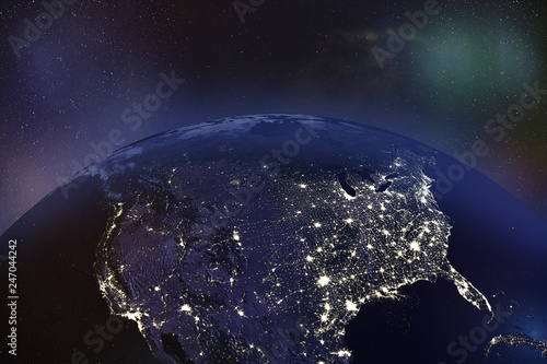 USA at night from Orbit - Elements of this image furnished by NASA Canvas Print