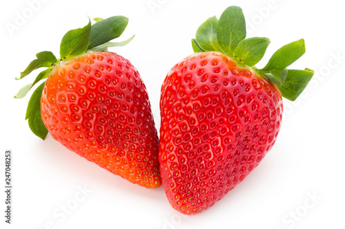 Photo Fresh strawberries close up on white background.