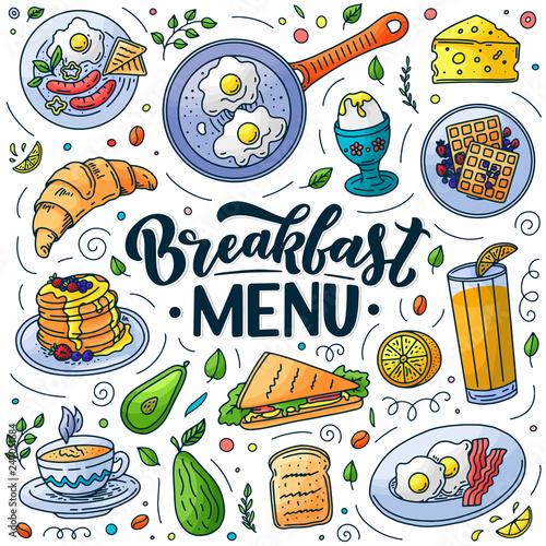Fotografia Breakfast menu design elements