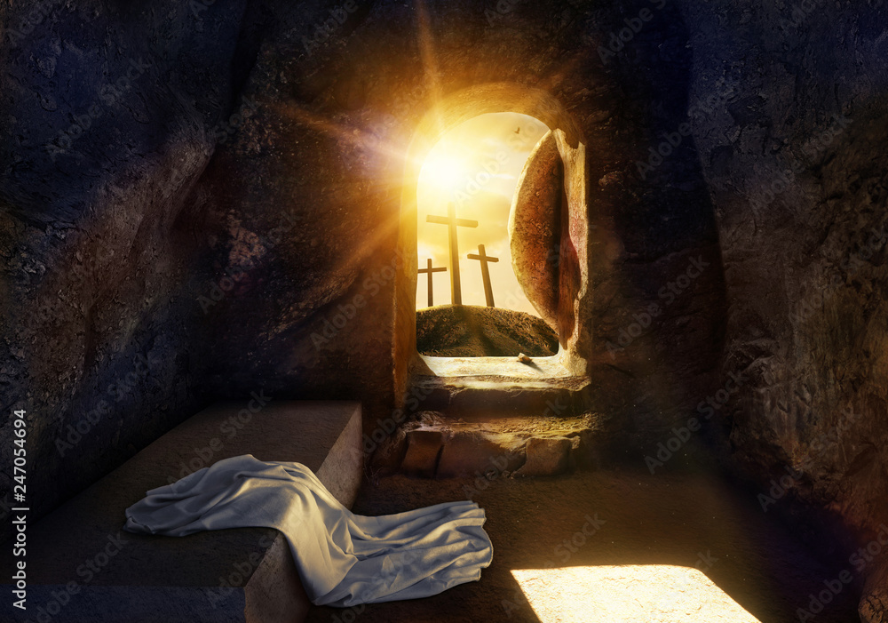Fototapety, obrazy: He is Risen. Empty Tomb With Shroud. Crucifixion at Sunrise. The illustration contains 3d elements.