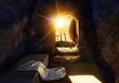 canvas print picture - He is Risen. Empty Tomb With Shroud. Crucifixion at Sunrise. The illustration contains 3d elements.
