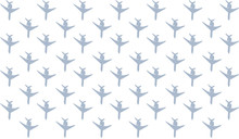 Set Of Sky Blue Airplane Silhouettes Direction Down, Set Of Cars Icons White Background