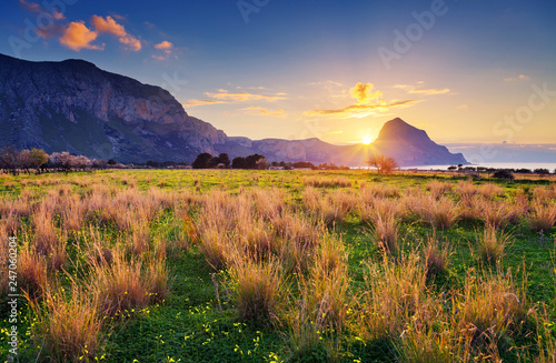 Wall mural - Great view of the nature reserve Monte Cofano. Location place cape San Vito, Sicilia island, Italy, Europe.