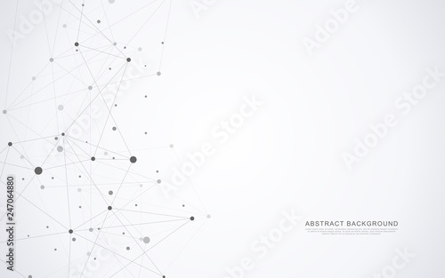 Fototapeta Geometric abstract background with connected dots and lines. Global network concept and communication technology. obraz