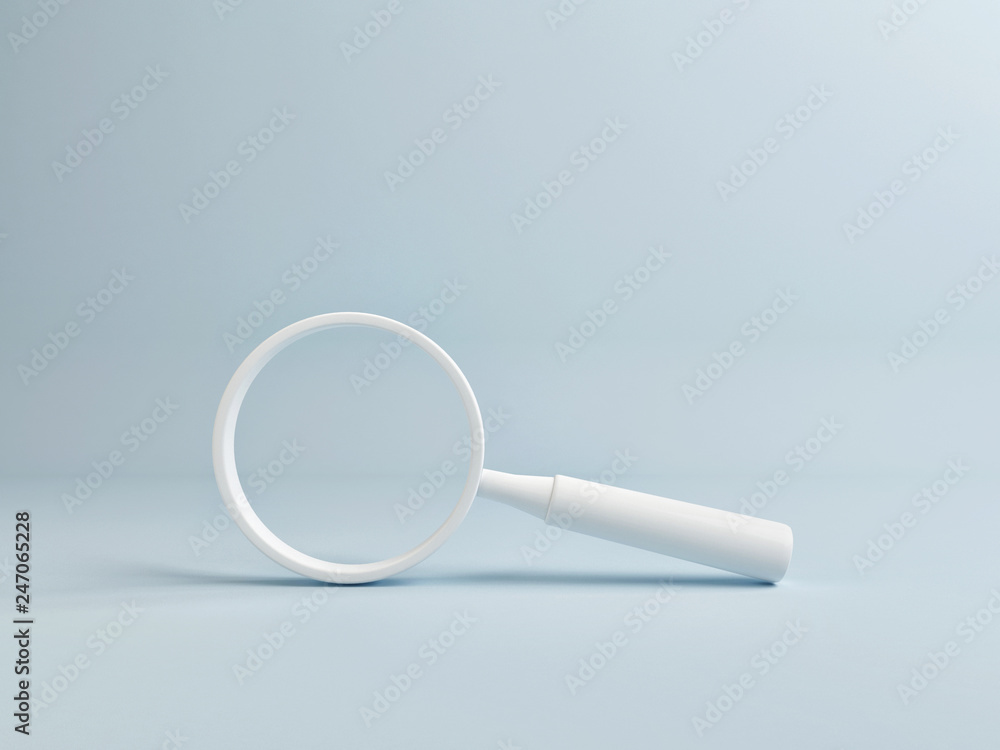 Fototapety, obrazy: White Magnify on Blue Background, Copy Space, 3d render, 3d illustration