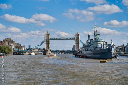 Photo  LONDON, UK - SEPTEMBER 9, 2018: Military Cruiser Belfast (HMS Belfast) is the pr