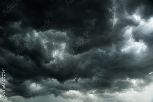 Canvas Prints Heaven Weather in summer with black cloud and storm, Dark sky and dramatic storm clouds before rainy, Bad weather with precipitation in rainy season
