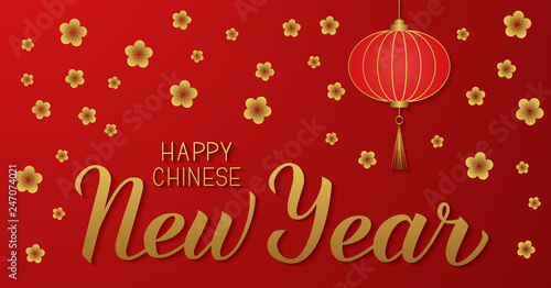 Fototapeta Happy Chinese New Year Golden Calligraphy Lettering On Red Background With Traditional Lantern And Cherry Blossom Vector Illustration