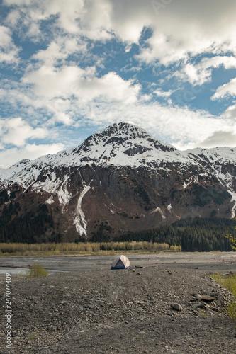 Fotografie, Obraz  A lone tent near Kenai Fjords National Park with a mountain view