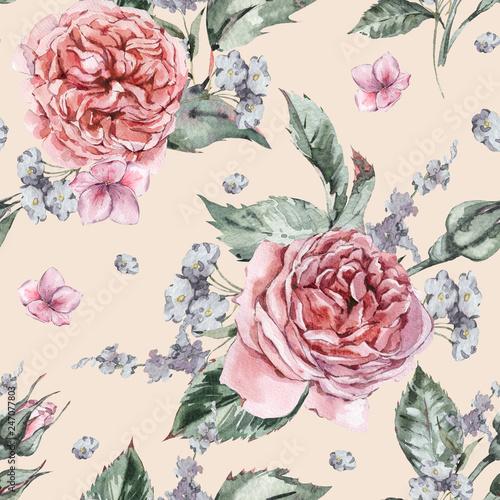 Leinwandbilder - Classical Watercolor Vintage Floral Seamless Pattern