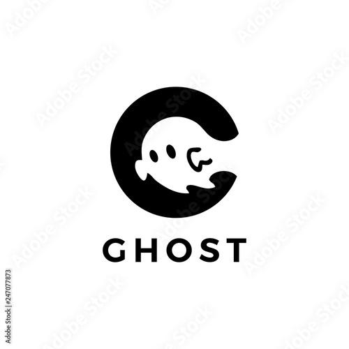 Photo ghost logo vector icon illustration