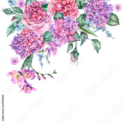 Leinwandbilder - Summer Watercolor Vintage Floral Bouquet with Blooming Hydrangea, Freesia