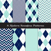 Navy Blue, Aqua And White Chevron And Argyle Seamless Vector Patterns. Golf Or Nautical Backgrounds. Various Width Zigzag Stripes. Repeating Pattern Tile Swatches Included.