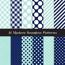 Navy Blue, Aqua And White Gingham, Polka Dot And Candy Stripes Patterns. Modern Geometric Nautical Backgrounds. Repeating Pattern Tile Swatches Included.