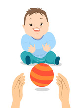 Baby Boy Down Syndrome Play Ball Illustration