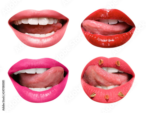 Poster Portrait Aquarelle Set of mouths with beautiful make-up isolated on white. Bright lipsticks