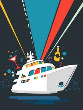 Yacht Party Poster Design Illu...