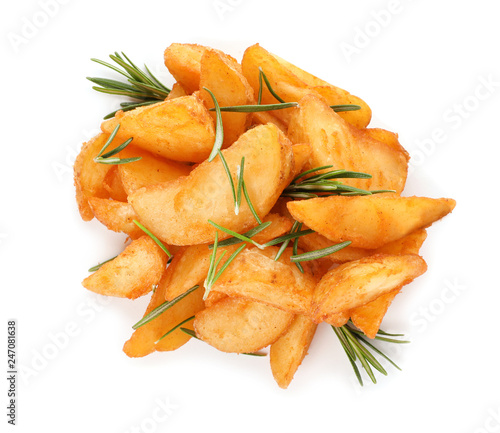 In de dag Aromatische Baked potatoes with rosemary on white background, top view