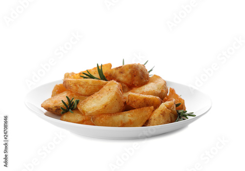 In de dag Aromatische Plate with baked potatoes and rosemary on white background
