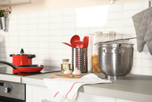 Set Of Clean Cookware, Utensil...