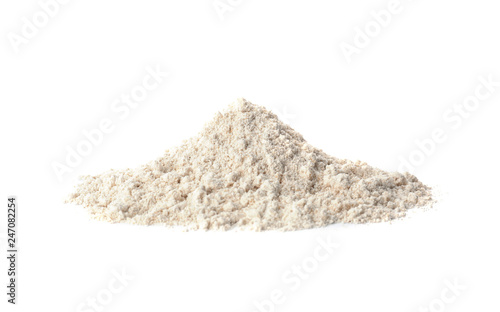 Pile of oat flour isolated on white